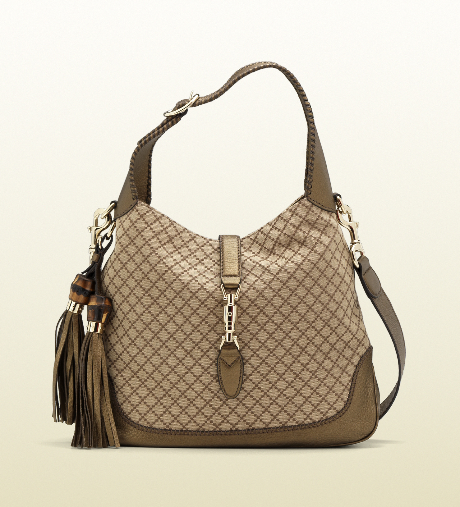 8b205f15ee73ed Gucci New Jackie Canvas Shoulder Bag in Brown - Lyst