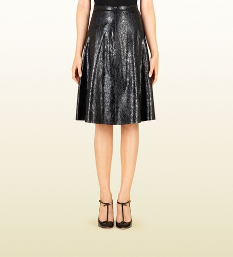 gucci black crushed patent leather skirt in black lyst