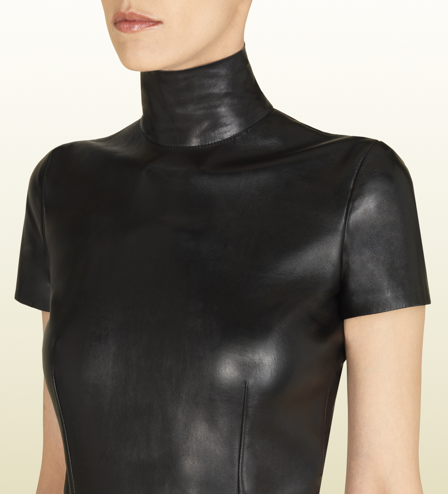 Lyst Gucci Black Leather High Neck Top In Black