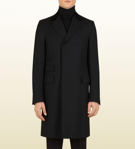 Gucci Black Wool Equestrian Coat in Black