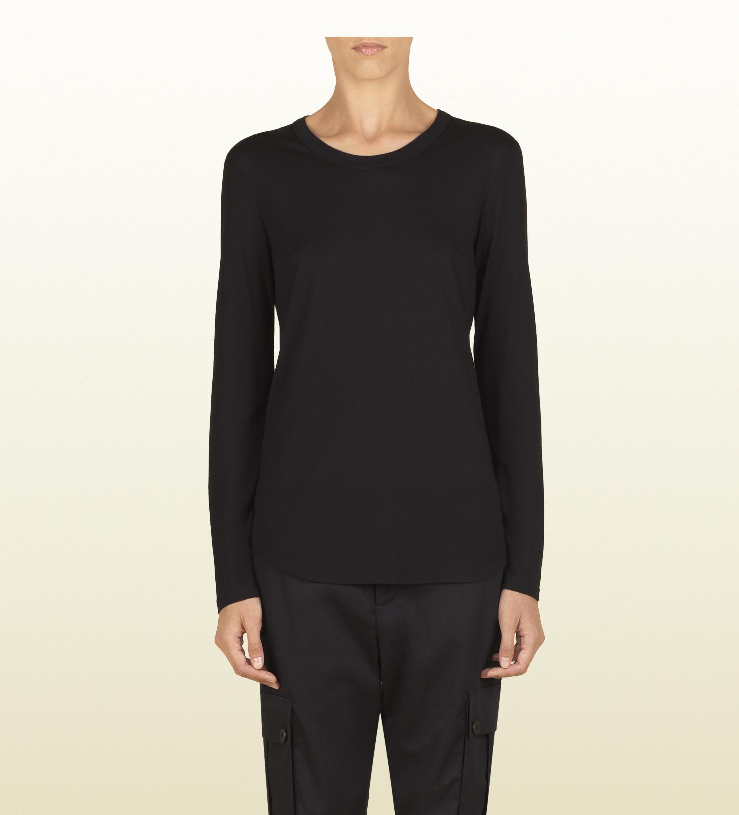 Lyst - Gucci Women s Black Silk Jersey Long Sleeve T-shirt From ... f7e90a1e93