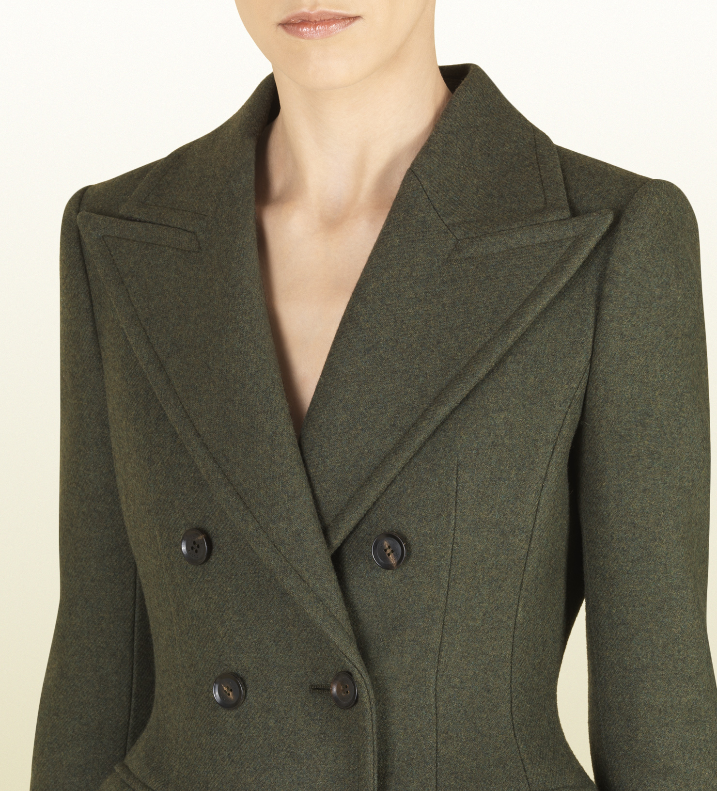 Gucci Military Green Wool Fitted Waist Coat in Green | Lyst