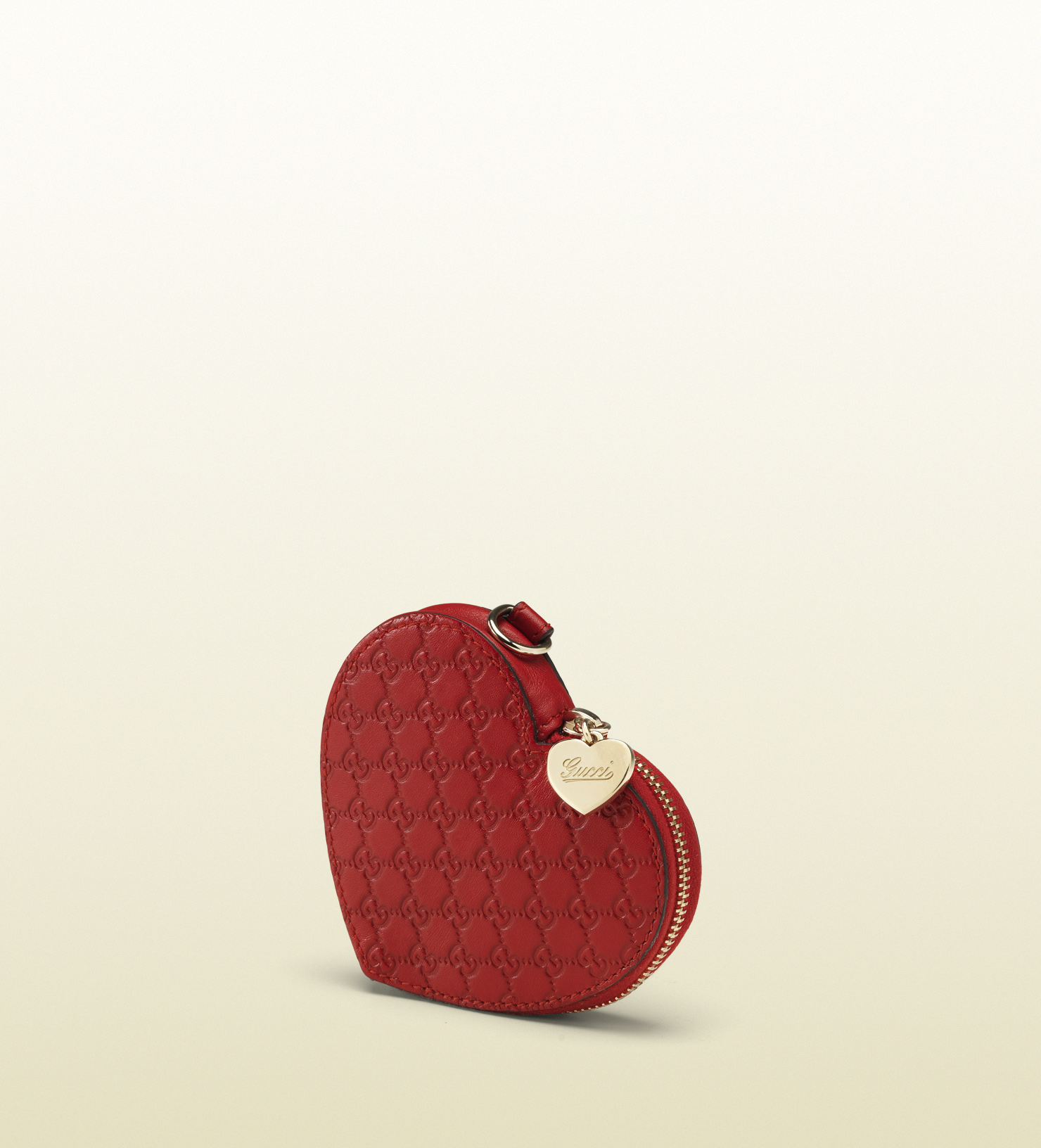 e5a8fa800645 Lyst Gucci Red Microguccissima Leather Heartshaped Coin Purse In