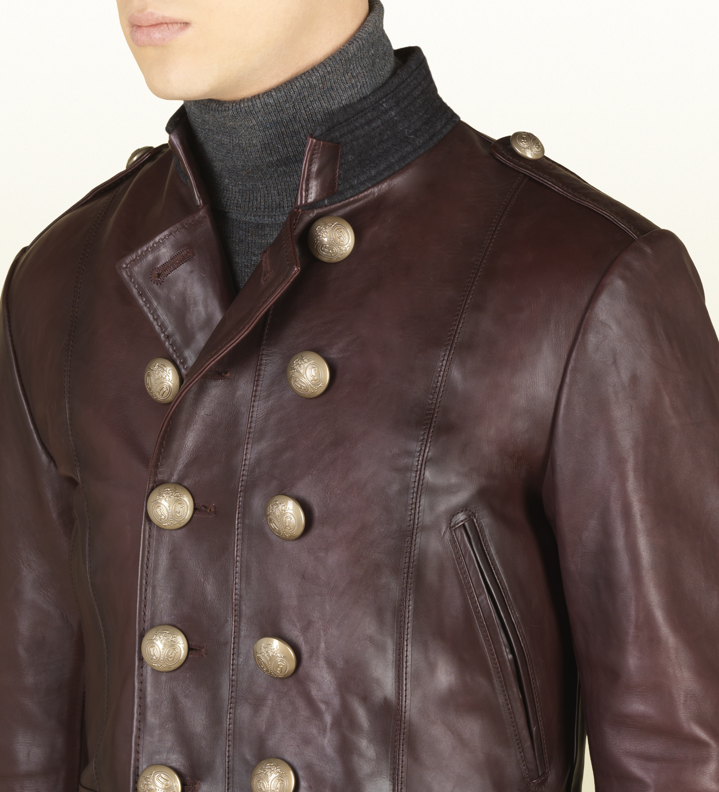 Lyst Gucci Red Shiny Leather Jacket In Red For Men