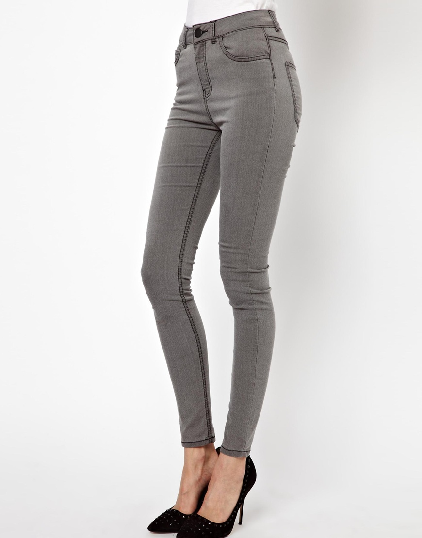 Just female Stroke Powerstretch High Waist Skinny Jeans in Gray | Lyst