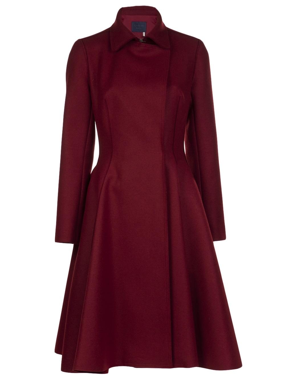 Lyst Lanvin Flare Skirt Coat In Red
