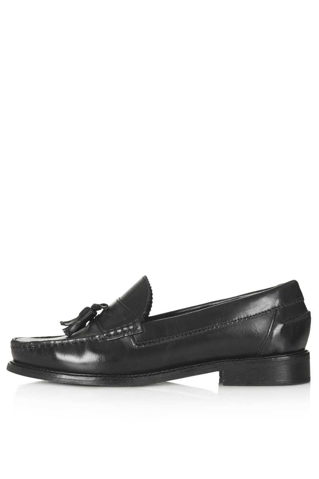 topshop keith2 high v loafers in black lyst
