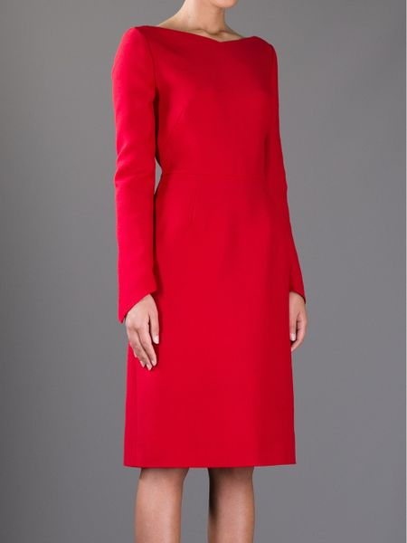 Valentino Fitted Dress In Red Lyst