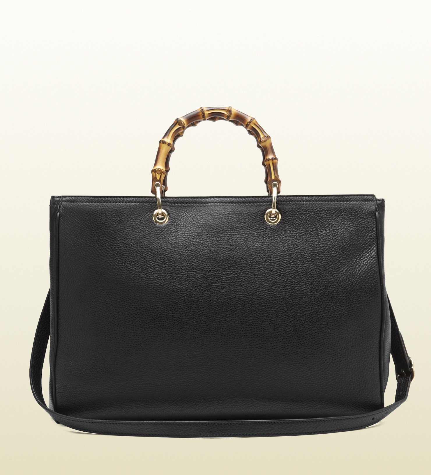 Gucci Bamboo Leather Tote In Black Bamboo Lyst