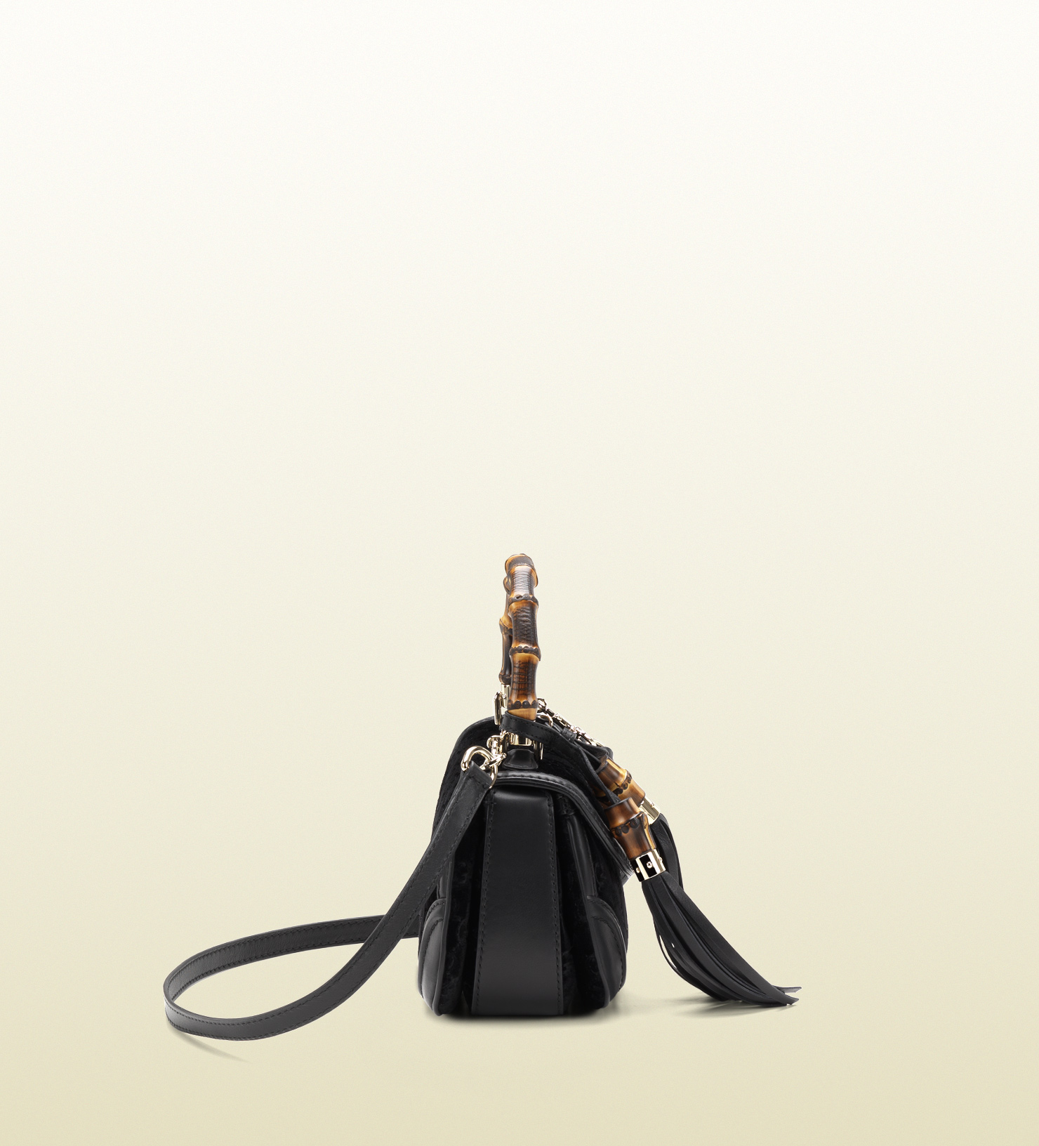 bba6f76eee6cd8 Gucci New Bamboo Gg Cotton Velvet Top Handle Bag in Black - Lyst