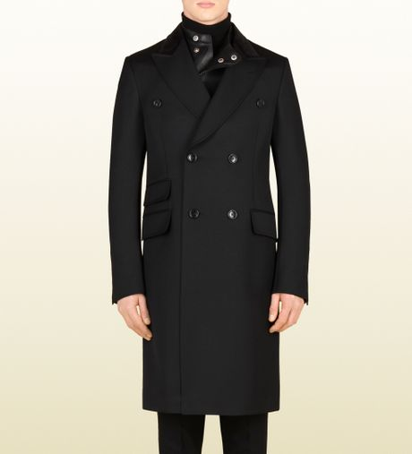 Gucci Black Wool Equestrian Coat in Black for Men