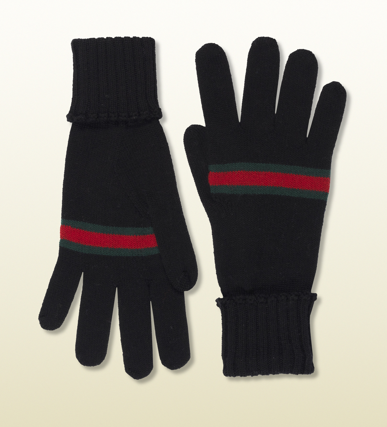 Mens leather gloves for iphone - Gucci Black Wool Gloves With Web In Black For Men Lyst