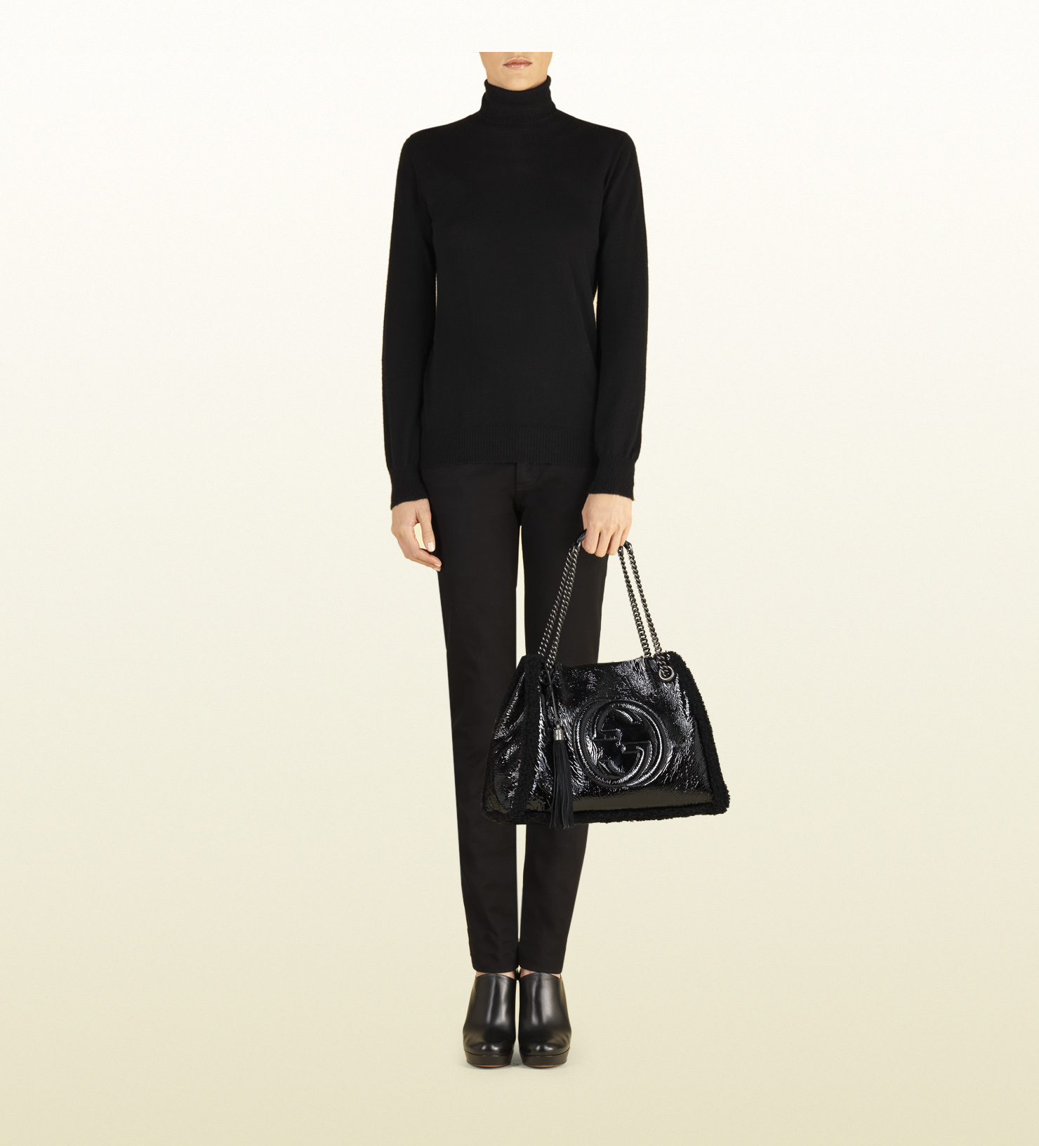 d4a50ee4627 Lyst - Gucci Soho Crushed Patent Leather Shoulder Bag in Black