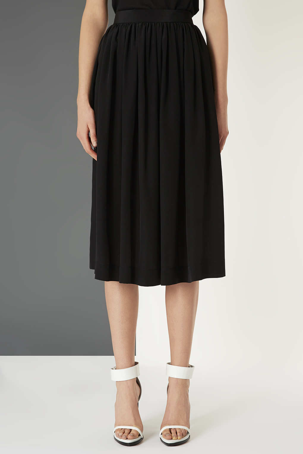 Topshop Silk Midi Skirt By Boutique in Black | Lyst