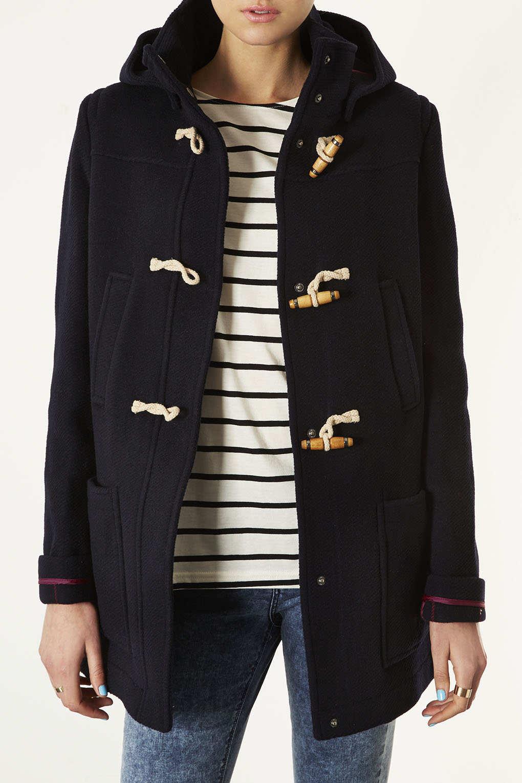 Lyst Topshop Wool Hooded Duffle Coat In Blue