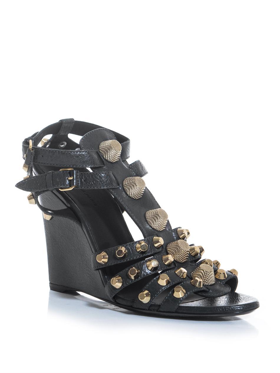 balenciaga arena stud wedge sandals in gray grey lyst