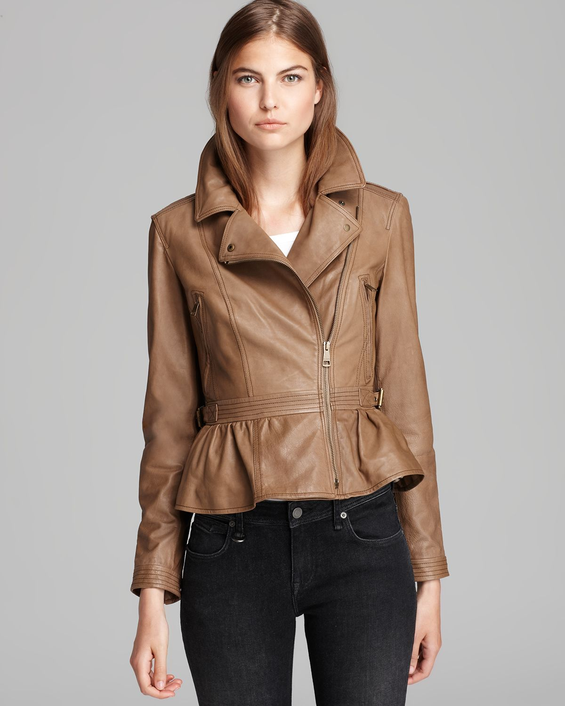 burberry brit chorleywood leather peplum moto jacket in brown lyst. Black Bedroom Furniture Sets. Home Design Ideas