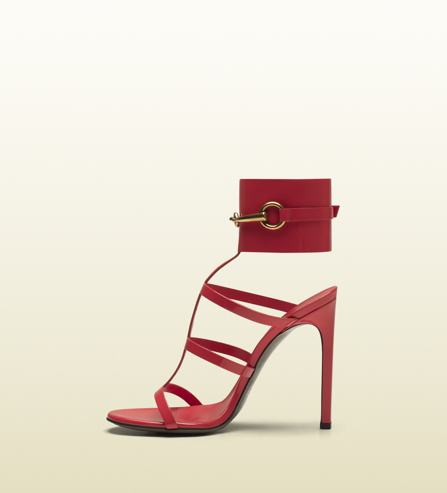 46b31fa9ea76 Lyst - Gucci Ursula Anklestrap High Heel Sandal in Red