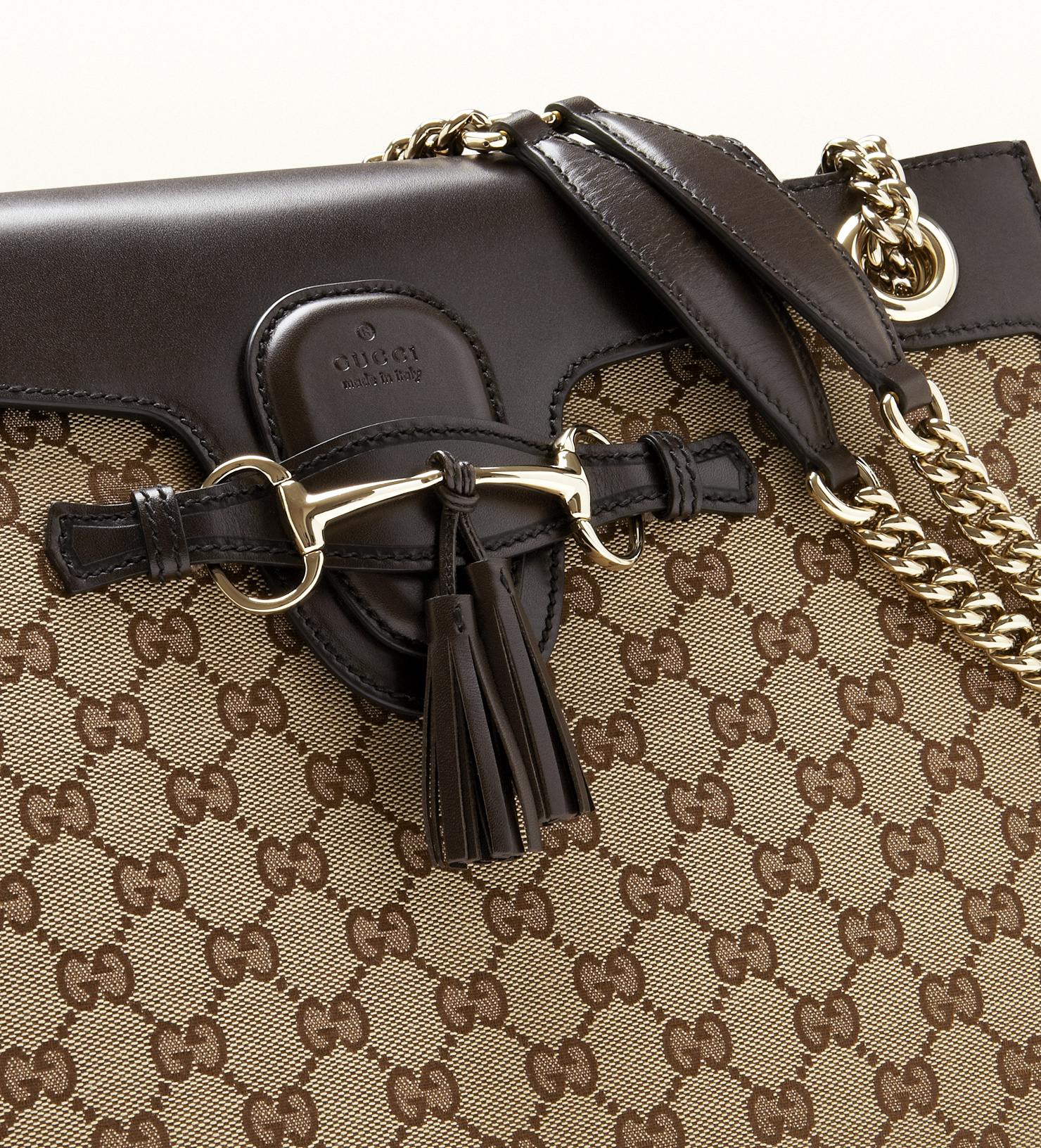 bf40d77aaf1b Gucci Emily Original Gg Canvas Chain Shoulder Bag in Brown - Lyst