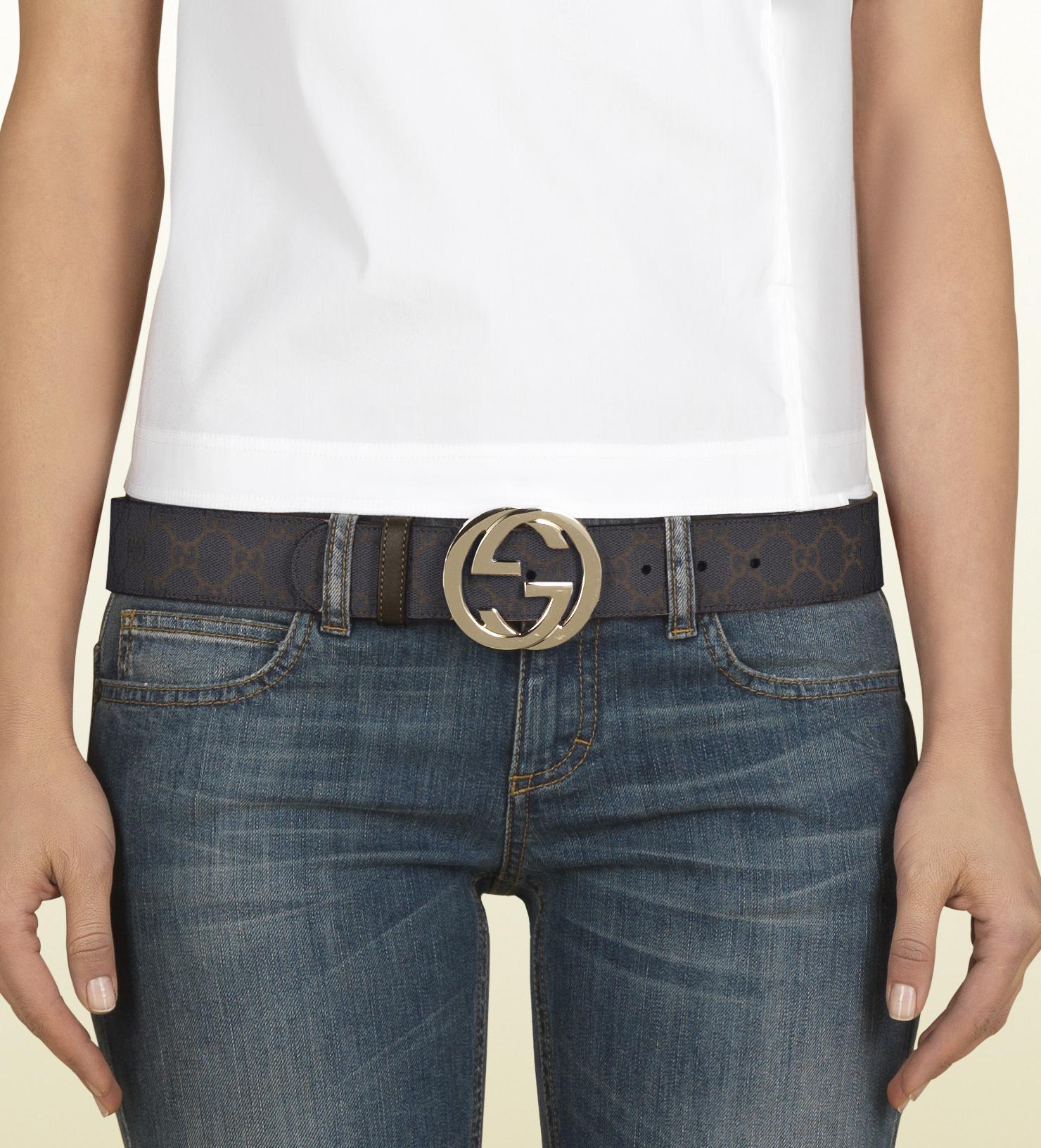 Real Ferragamo Belt >> Lyst - Gucci Gg Supreme Canvas Belt with Interlocking G Buckle in Black for Men
