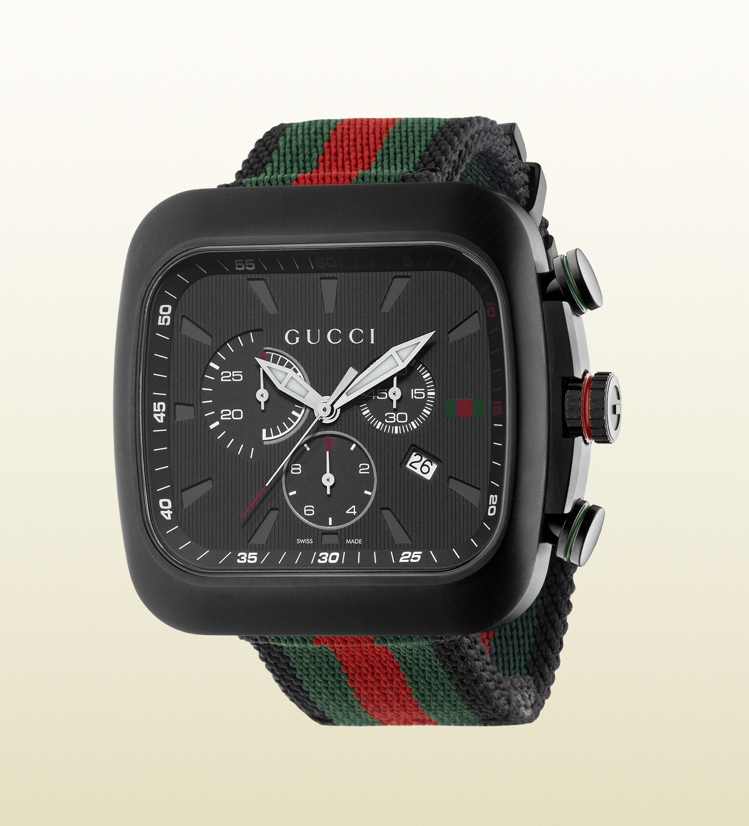 Gucci Coup 233 Extra Large Black Pvd And Web Watch In Black