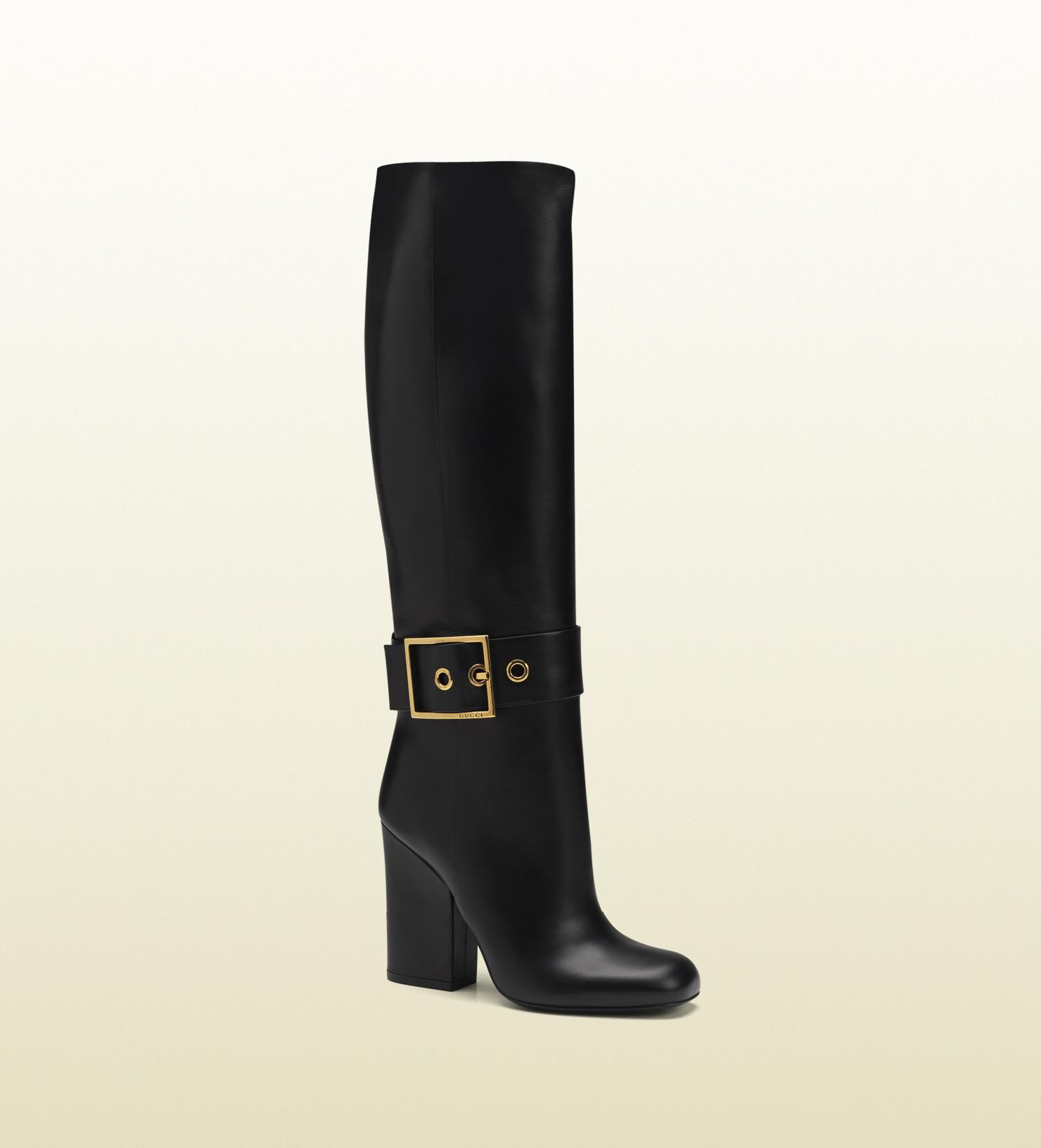 807c5a4749 Gucci Kesha Black Leather High Heel Boot in Black - Lyst