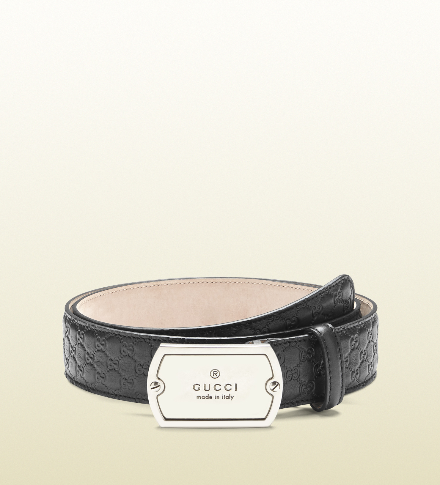 e6886d0e1c0 Lyst - Gucci Microssima Belt With Dog Tag Buckle in Black for Men