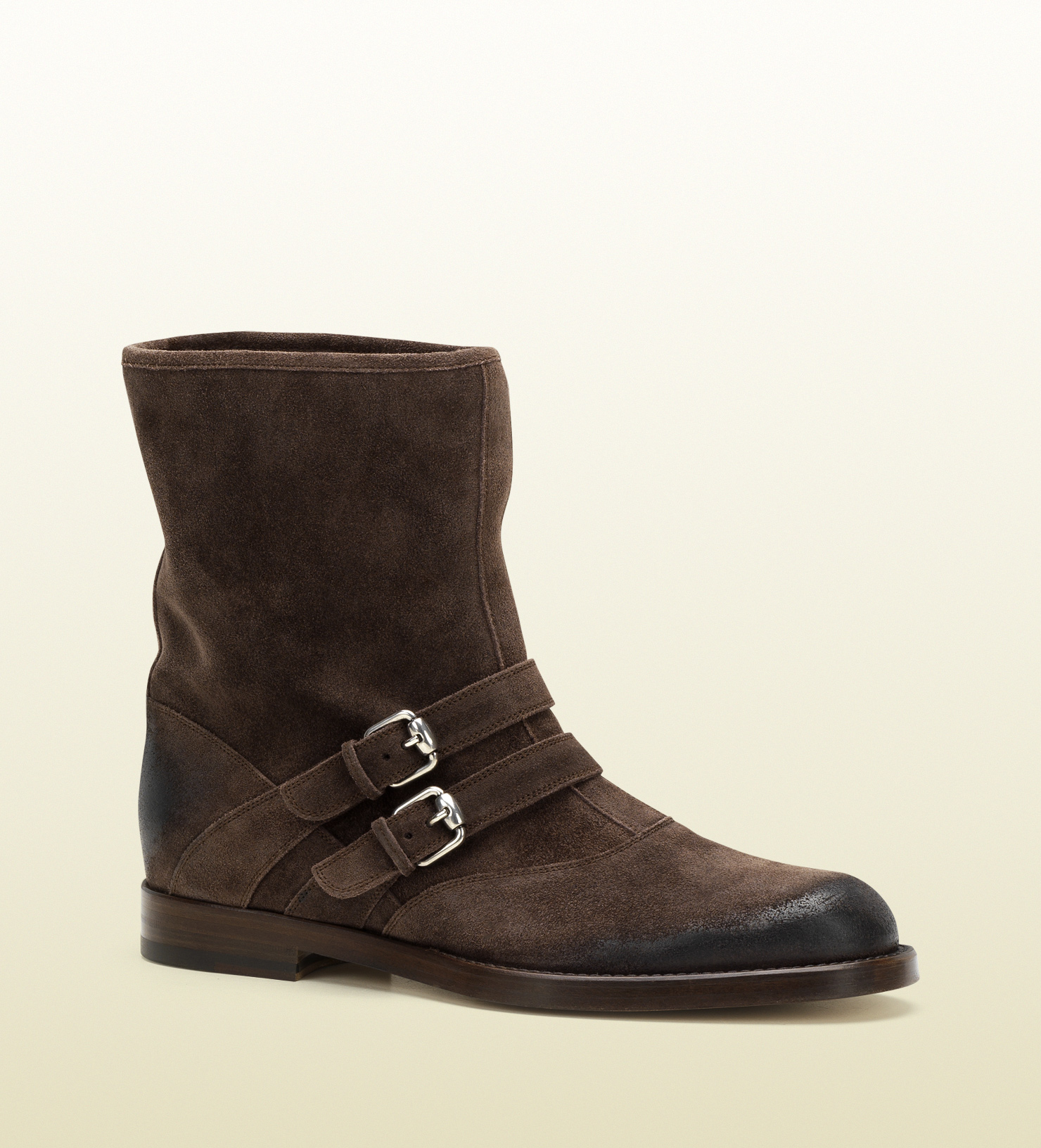 gucci brown shades suede buckle boot in brown for lyst