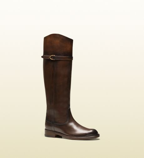 gucci eleonora brown leather boot in brown lyst