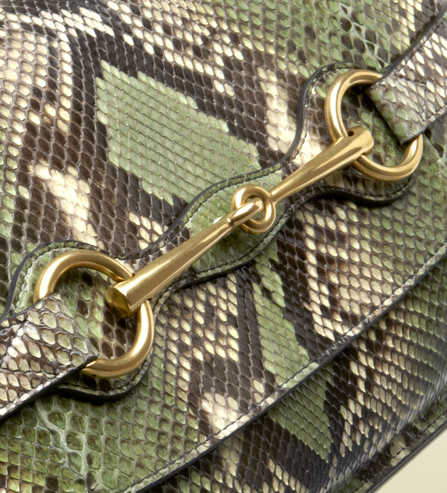 8318e553a3bab3 Gucci Jasmine Green Python Clutch with Horsebit Detail in Green - Lyst