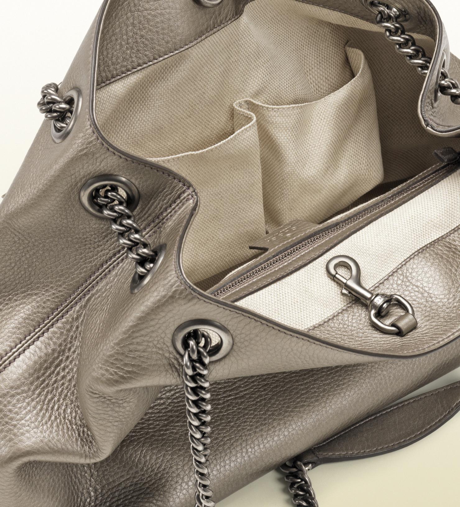 9245b279ee27 Innovatenortheastflorida.com Lyst Gucci Soho Metallic Leather ...