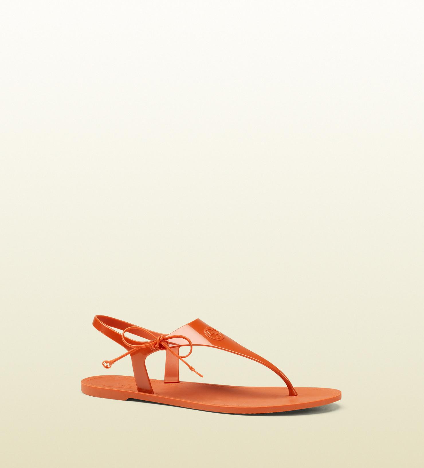 Gucci Katina Bioplastic Rubber Thong Sandal In Orange Lyst