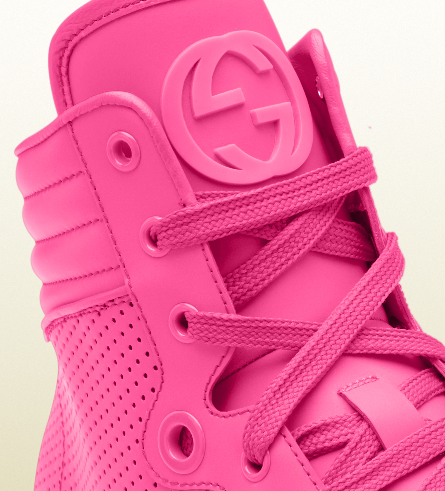 Lyst Gucci Neon Pink Leather Hightop Sneakers In Pink
