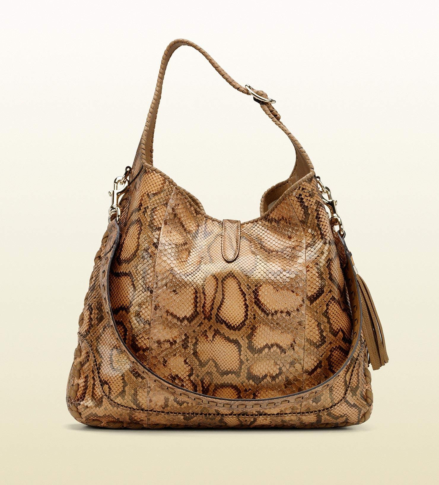 e815c221f28d Gucci New Jackie Python Shoulder Bag - Lyst
