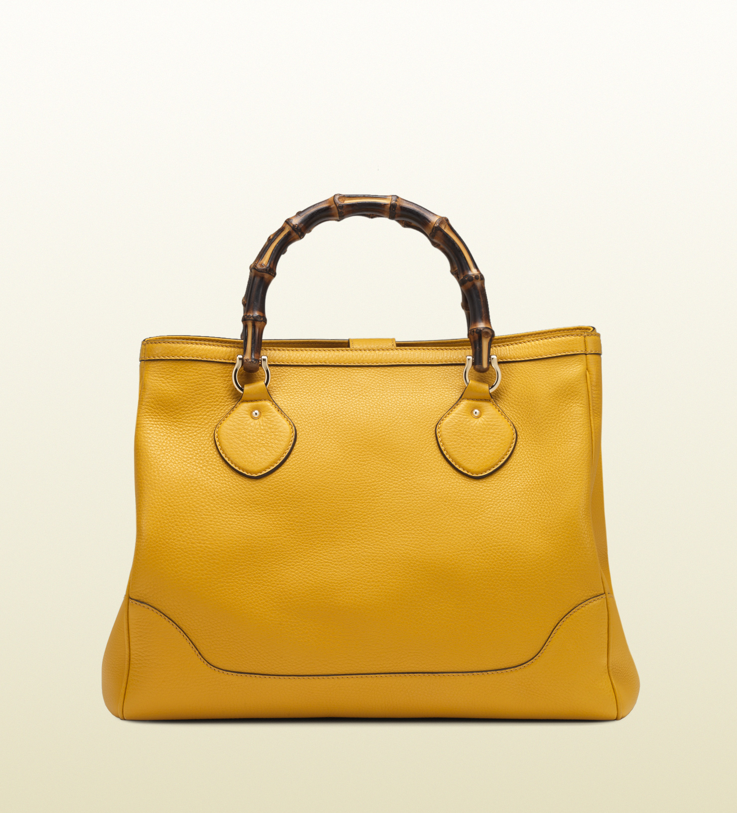 5e7ab878c Gucci Diana Yellow Leather Bamboo Top Handle Tote in Yellow - Lyst