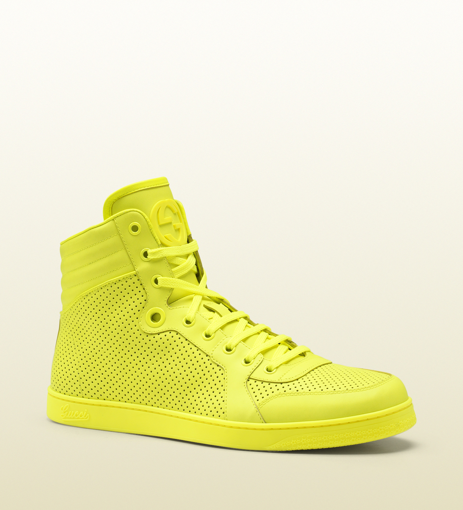 dd5144f8ab9 Lyst - Gucci Neon Yellow Leather Hightop Sneaker in Yellow for Men