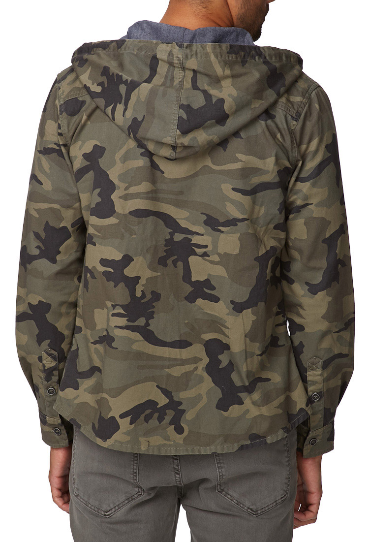 0464edec44ffd Forever 21 Hooded Camo Jacket in Brown for Men - Lyst