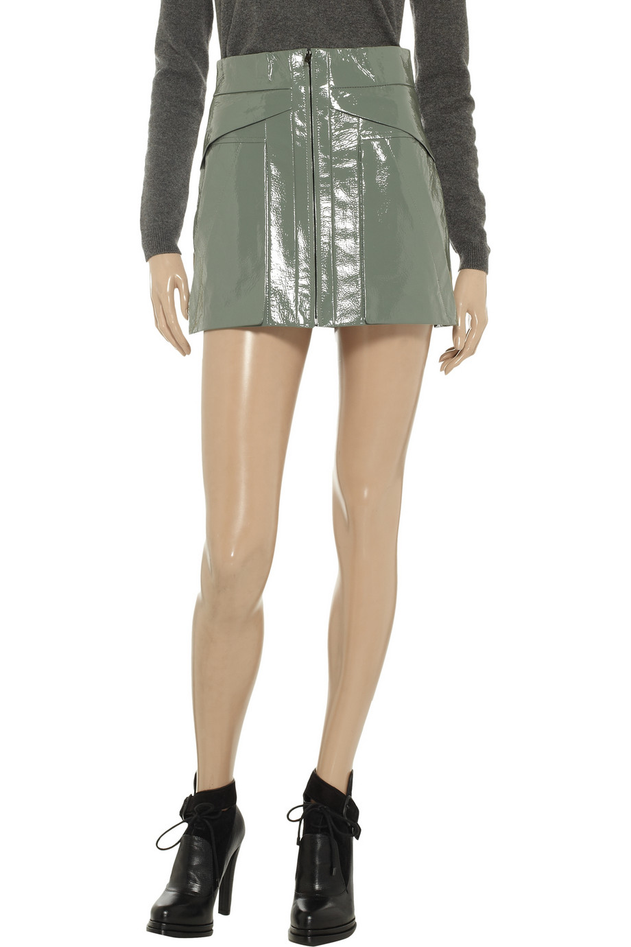 Alexander wang Patent Leather Mini Skirt in Green | Lyst