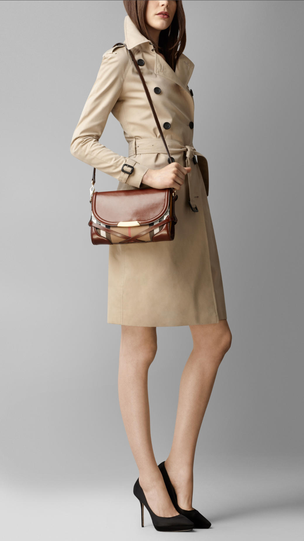 34472167cf6 Lyst - Burberry Small Bridle House Check Crossbody Bag in Brown