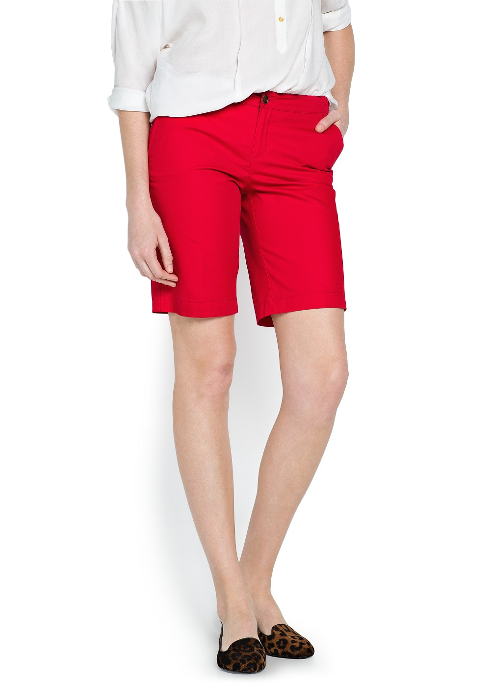 Mango Chino Style Cotton Bermuda Shorts in Red | Lyst