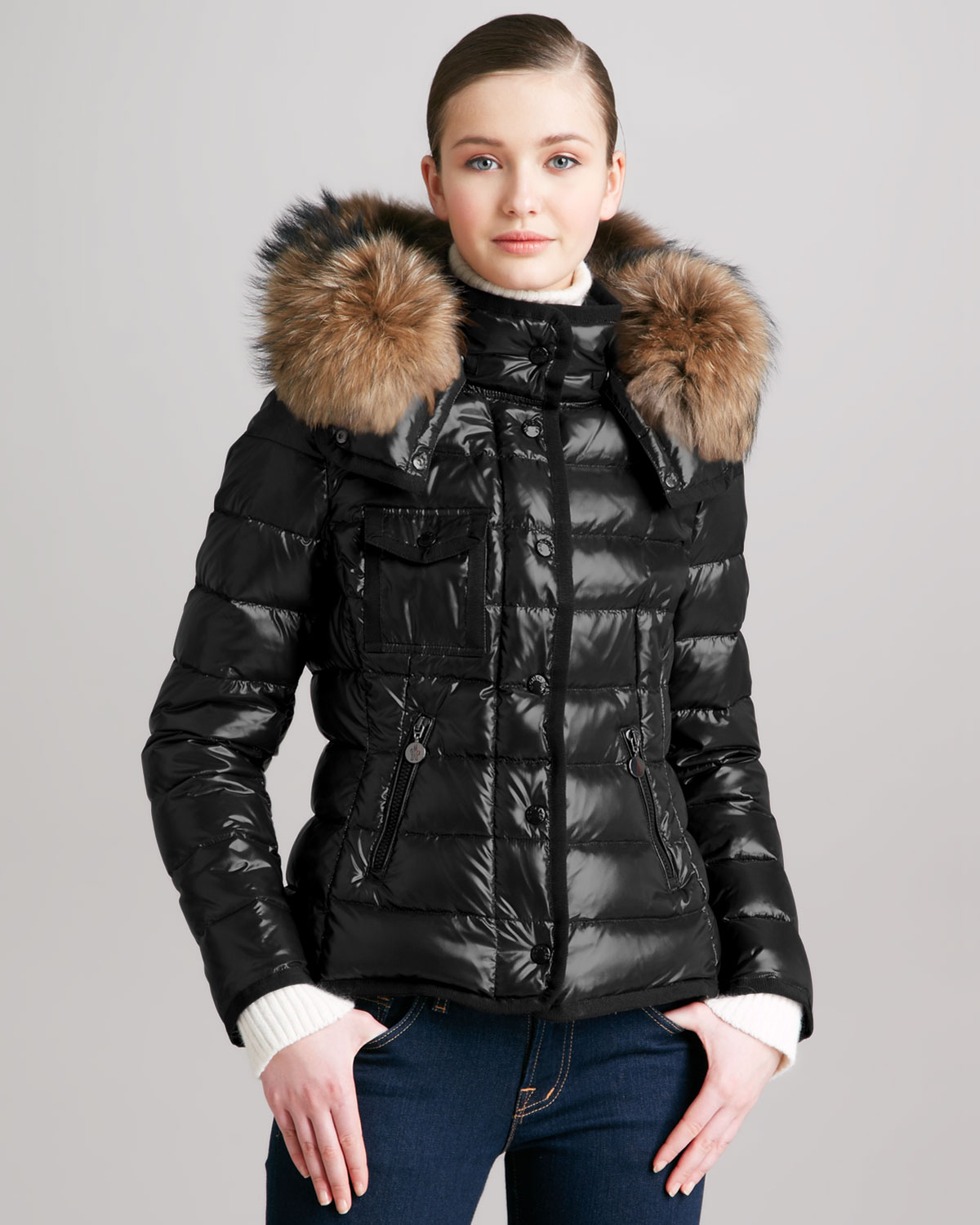 Lyst Moncler Short Puffer Jacket With Furtrimmed Hood In