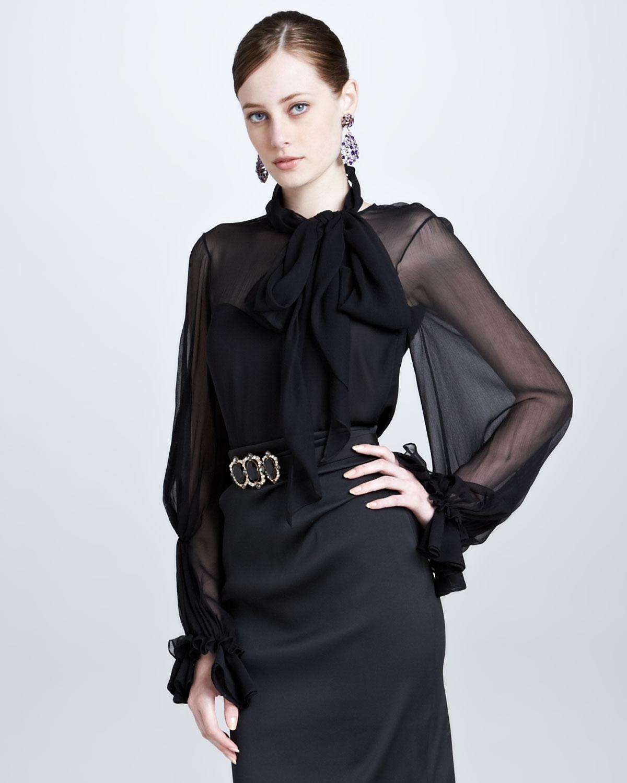 Ara Leather Ruffle Blouse in Black