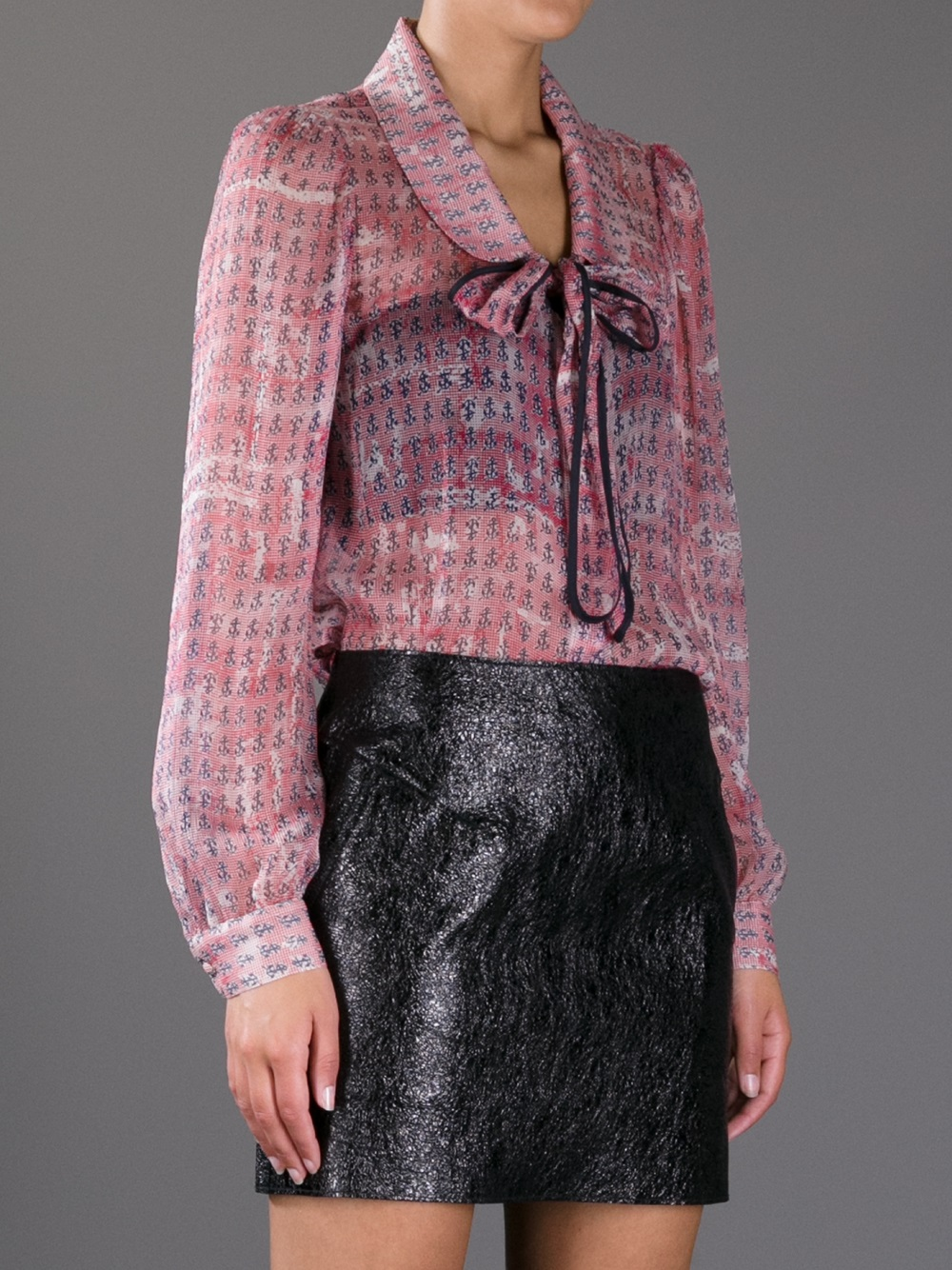 Lyst Red Valentino Anchor Print Sheer Blouse In Pink
