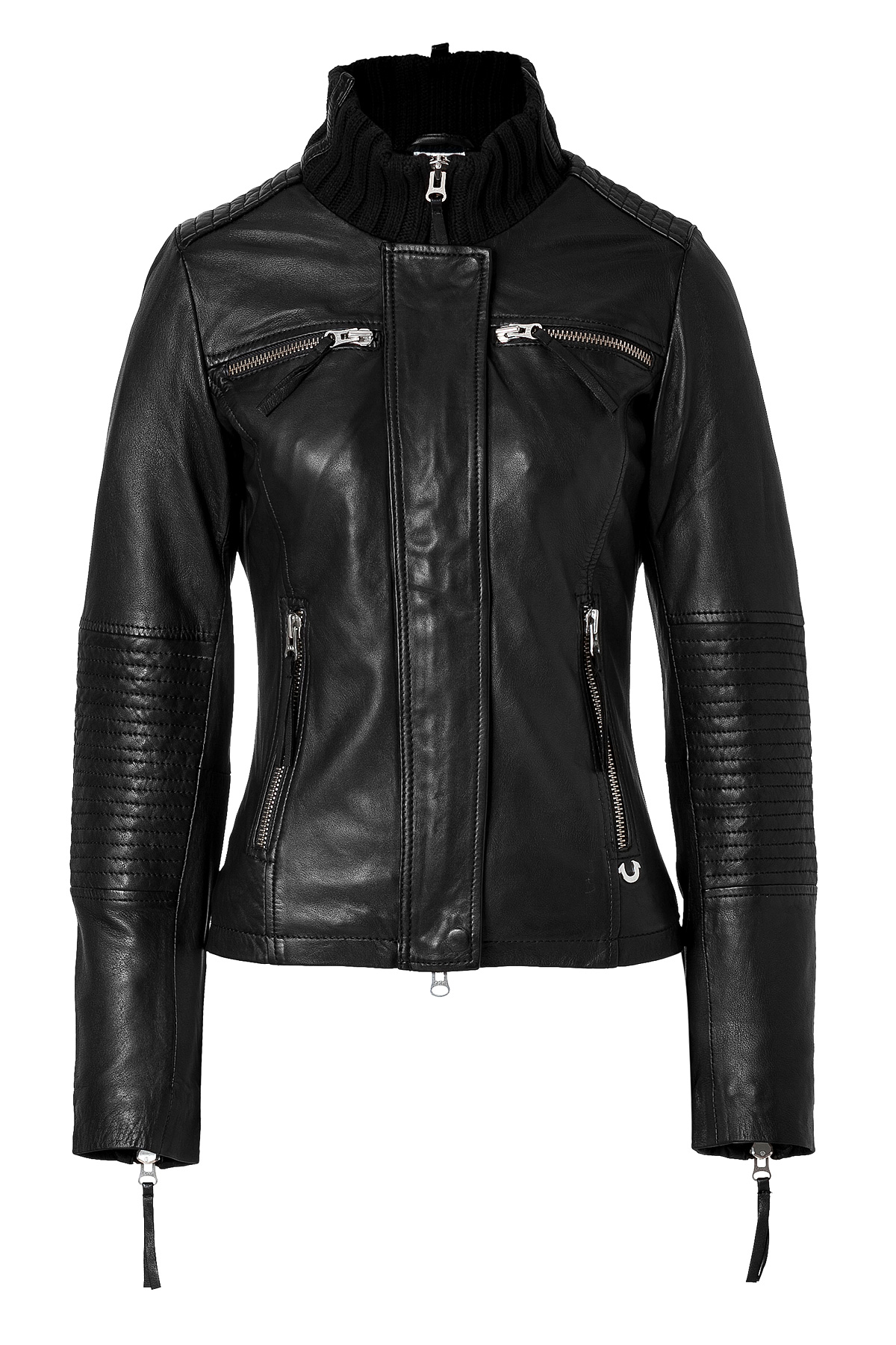 true religion leather biker jacket in black in black lyst. Black Bedroom Furniture Sets. Home Design Ideas