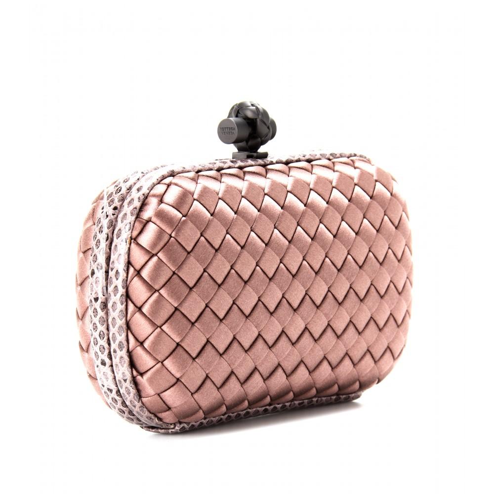 Lyst - Bottega Veneta Knot Satin Box Clutch with Snakeskin in Pink ef5bb969196fe