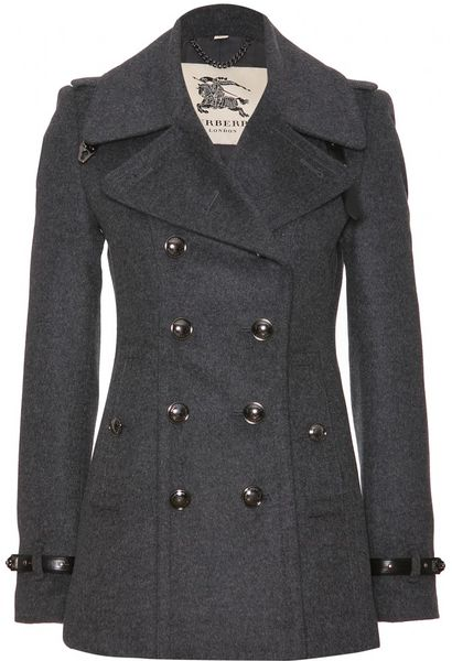 Burberry Wool And Cashmere Pea Coat In Gray Dark Charcoal