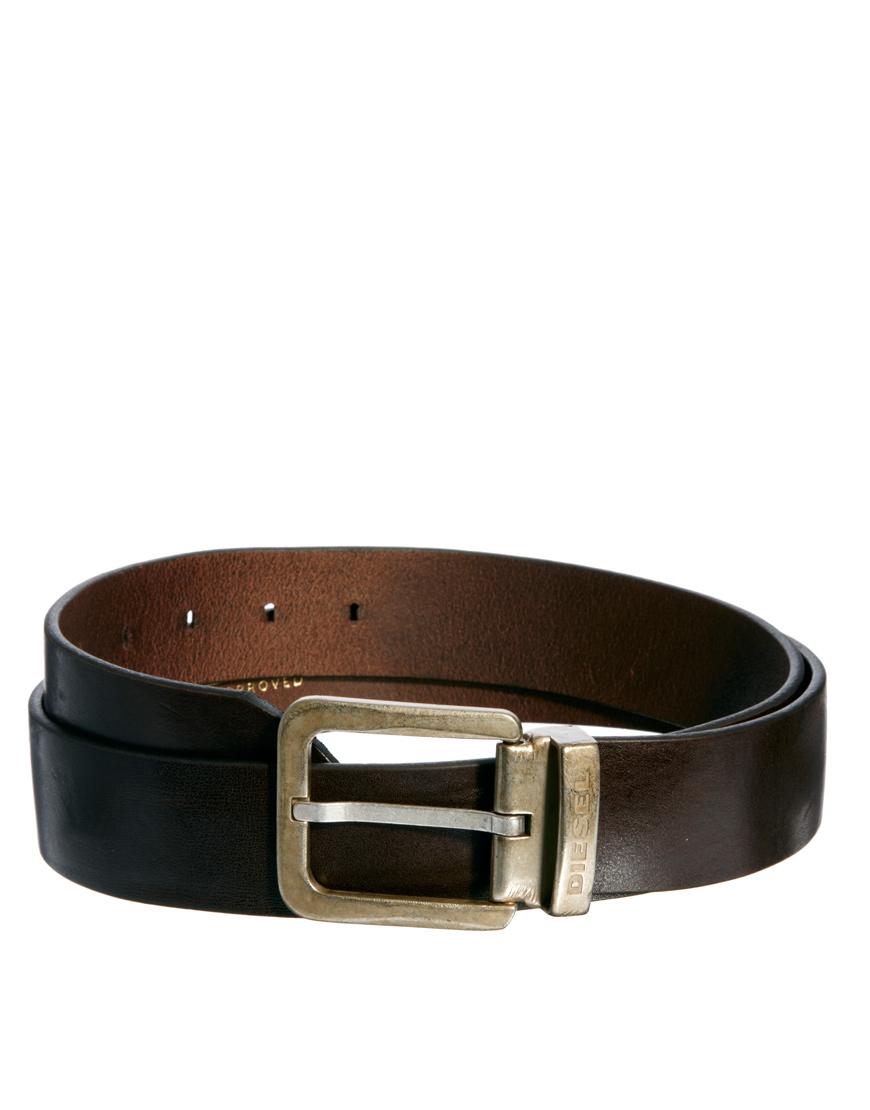 diesel begles leather belt in black for brown lyst