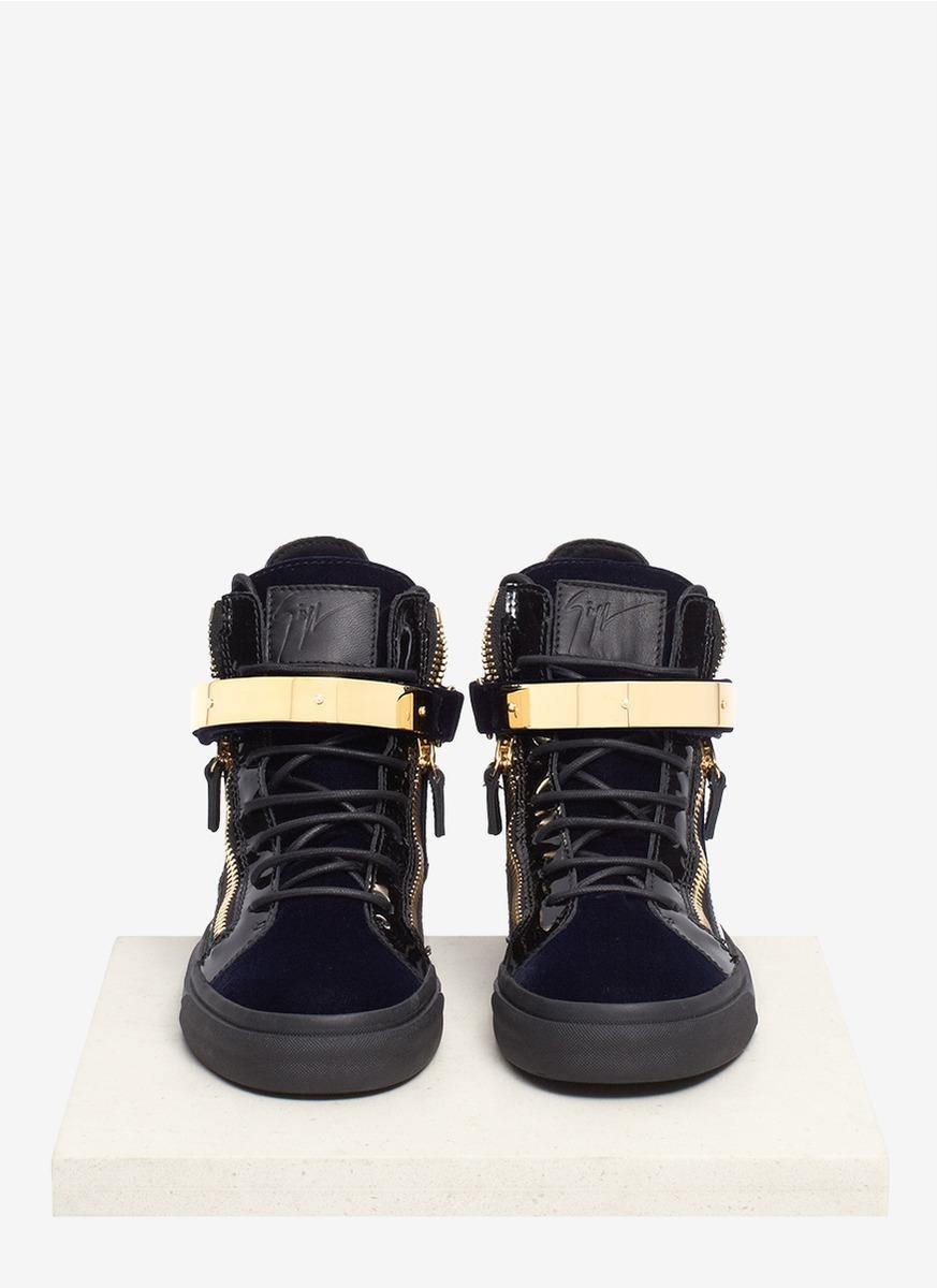 giuseppe zanotti gold bar sneakers on sale