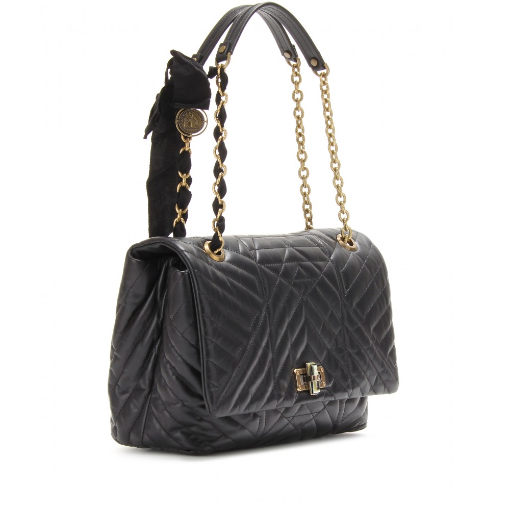 Lyst - Lanvin Happy Large Quilted Leather Shoulder Bag in Black : quilted shoulder bags - Adamdwight.com