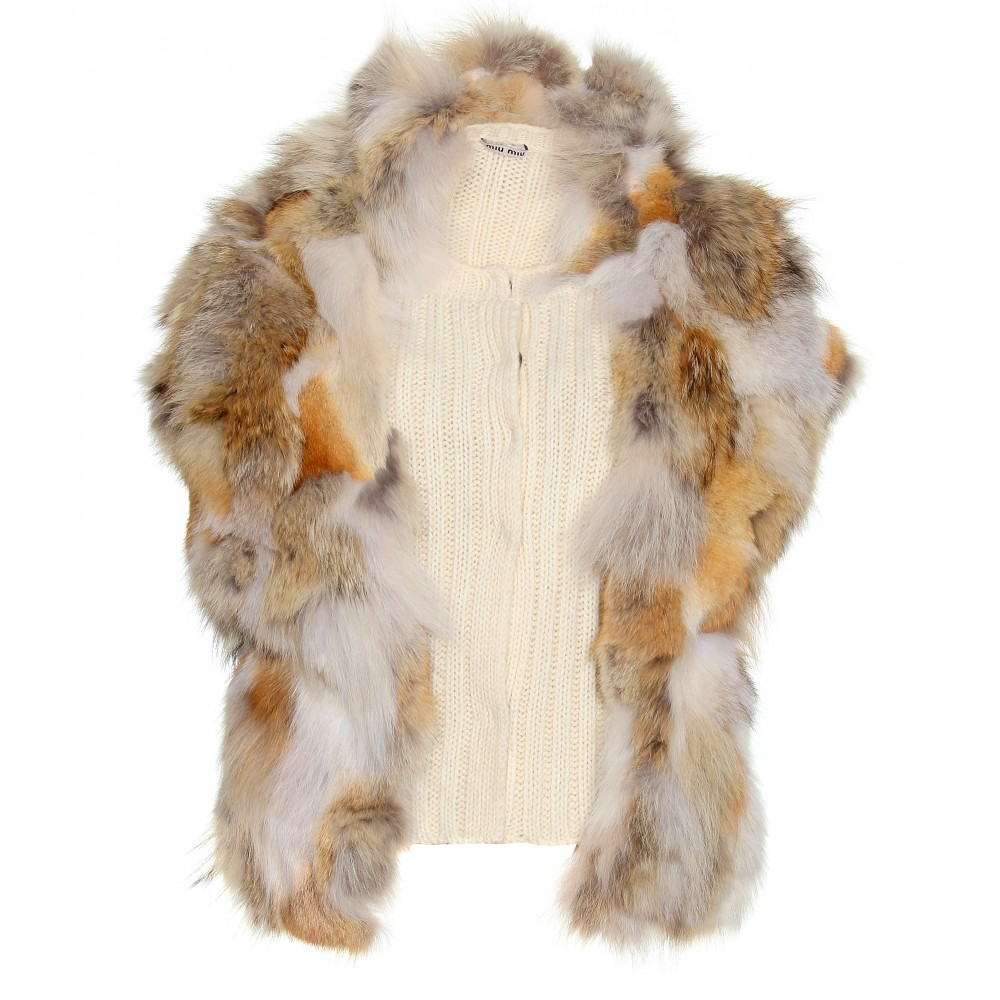 9b177ddba90 Lyst - Miu Miu Ribbed Knit Vest with Fur Trimmed Overlay in Brown